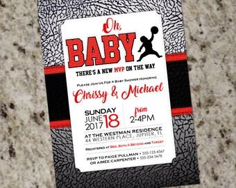 Air Jordan Baby Shower Invitations | Baby Jumpman | Jordan Themed Party Invite | Customized Printable Design | BAB38
