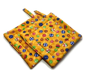 Handmade Quilted Pot Holders Set of 2  Yellow Easter Egg Potholders