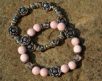 PINK CERAMIC Silver Metal Roses Stretch Stacking Bracelet