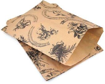 Medium Musical Cherub Angel Print Kraft Brown paper bags