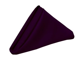 YCC Linen - Eggplant Napkin for Weddings Pack of 10 | Wholesale Polyester Cloth Napkins