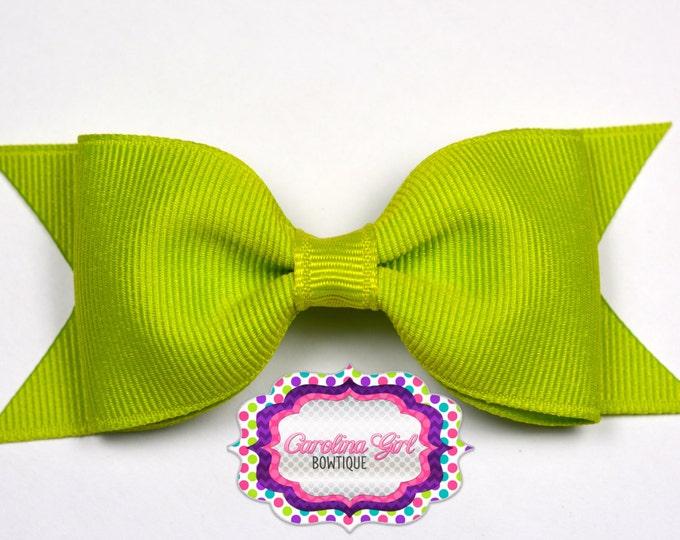 "Lime Tuxedo Bow ~ 3.5"" Hairbow ~ Small Hair Bow ~ Girls Barrette ~ Toddler Bow ~ Baby Hair Bow ~ Hair Clip ~ Girls Hair Bow"