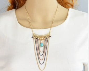 Turkish new long black,gold color multi layer chain with turquoise stone necklace