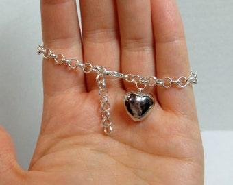 Chunky Silver Heart Bracelet-Charm Bracelet