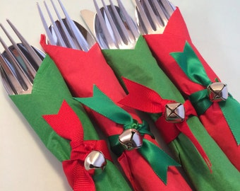 Holiday Flatware with Christmas Bell Napkin Ring, Disposable Christmas Flatware, Holiday Party Tableware