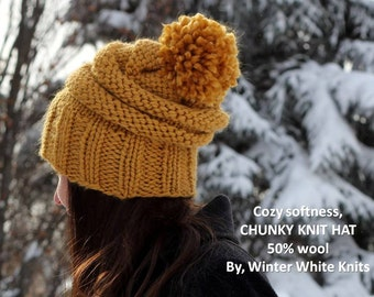 Knit hat, pom pom hat, winter knitted hat, mustard yellow hat, many colors available, knit beanie hat, adult size, cozy softness