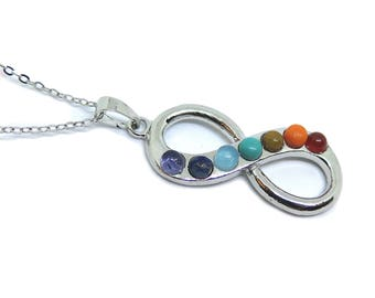 """Infinity Symbol - Crystal Healing Gemstone Pendant on Stainless Steel 18"""" Necklace"""