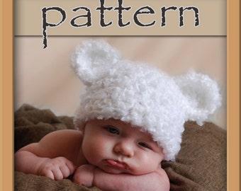 PATTERN Fuzzy Bear Hat - Crochet - Instant Dowload