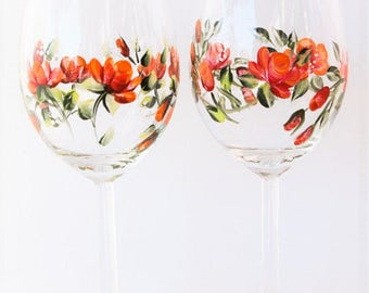 Hand Painted Wine Goblets or Glasses  Red Orange Rose Pair