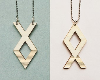 XO Best Friends necklace set ~ Laser cut from birch wood ~ Geometric pendant ~ Gift boxed ~ XOXO ~ BFF