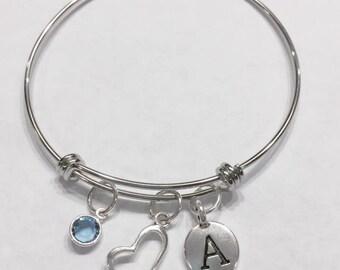 Gift For Her, Birthstone Initial Bangle Bracelet, Heart Bangle Bracelet, Love Valentine Gift, Mother's Day Wife Daughter Bangle Bracelet