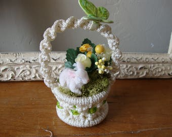 Vintage style Easter basket assemblage crochet mini basket vintage mini bunny and millinery Spring home table decor