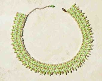 Bead Netted Necklace Hand Sewn With Glass Seed Beads and Glass Pearls of Green White and Tan