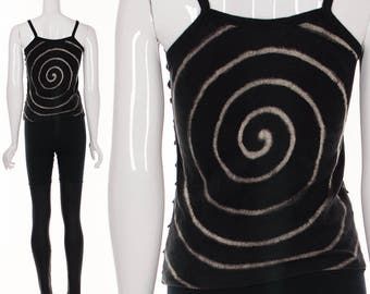 90's Handpainted Tank Top Art Print Optic Swirl Black Tank Top Festival Top Burning Man Top XS S