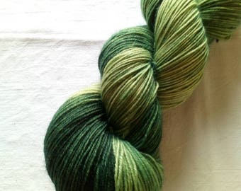 100g hand dyed socks wool in green