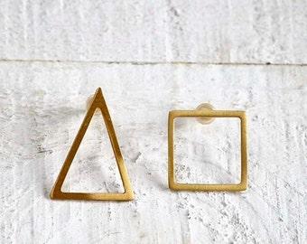 Geometric Stud Earrings, Gold Triangle Earrings, Square Stud Earrings, Mismatched Earrings, Minimalistic Stud Earrings, Gold Post Earrings