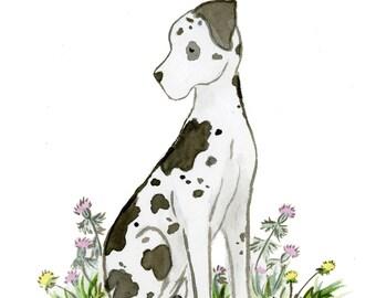 Great Dane Art Print, Puppy Nursery Art, Watercolor Print, Harlequin Great Dane, Children's Art Kids Dog Art, Baby Room Decor, Nursery Decor