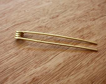 Brass Hair Fork - Coiled Hair Fork - Long Hair Accessory - Brass Hair Stick - Bun - French Twist - Metal Hair Fork - Haarstab Metall