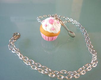 Necklace, pink cupcake, with its spoon