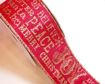 Christmas Ribbon, Lion Brand Winter Joy Wired Fabric Ribbon 2 1/2 inches wide x 10 yards, Glittered