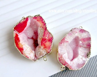 Druzy connector druzy geode connector, agate slice pendant Gold Plated Edge Geode Pendant pink druzy connector, JSP-6856