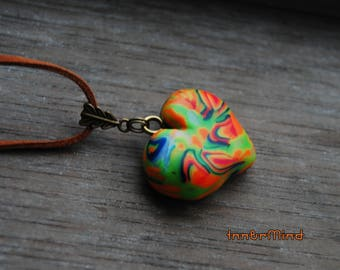 Heart Pendant Necklace UV Blacklight Reactive Unisex with glow in dark accents Love Unique