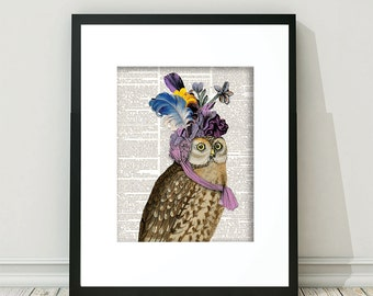Owl, Owls, Owl Prints, Owl Art, Owl Wall Art, Vintage Owl, Whimsical Owl, Whimsical Prints, Steampunk, Ephemera, Owl Gifts, Owl Digital Art