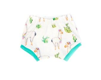 Llama Cactus Baby Shorts, Newborn Shorts, Toddler Llama Shorts, Organic Baby Shorts, Modern Cactus Shorts, Cactus Llama Girl Shorties