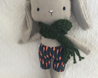 Small stuffed rabbit with scarf