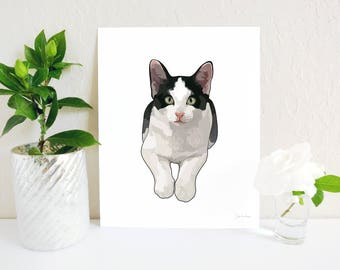 Tuxedo Cat Art Print, Cat Painting, Black and White Cat Decor, Cat Lover, Cat Lady Gift, Cat Memorial, Cat Portrait, Cat Decor, Cat Wall Art