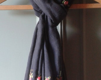 Hand embroidered cotton and linen charcoal grey oversized scarf.