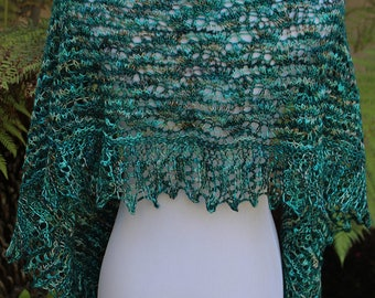 Green Variegated Crescent Shaped Pure Merino Wool Irish Spring Shawlette or Scarf