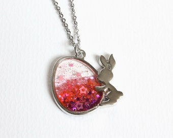 Easter Egg and Bunny Glitter Necklace