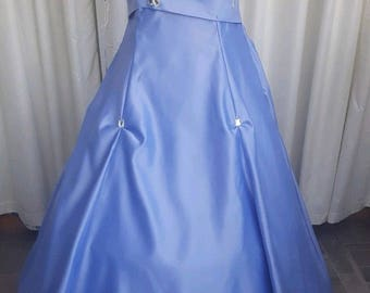 prom special occasion bridesmaid ballgown pleated chiffon over satin size uk-12-usa size-8