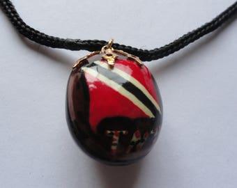 Vintage Trinidad and Tobago (TNT) Flag Red & Black Bead Necklace