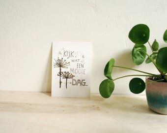 Postcard Beautiful day, nature inspiration on paper
