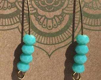 Aqua bead and gold earrings