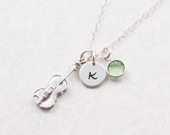 Violin necklace, sterling silver chain, personalized jewelry, swarovski birthstone, initial necklace, music jewelry, violin player gift