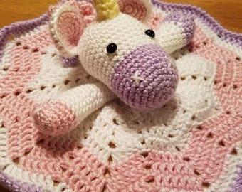 Unicorn lovey. Handmade umicorn blanket.
