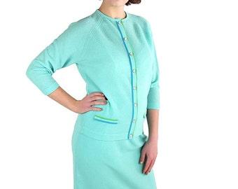 60s 70s Talbott Traveler Suit, Jackie O, Mad Men, Blue Knit, Cardigan, Skirt