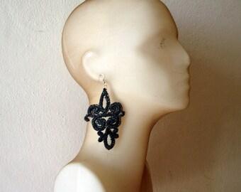 Black lace earrings, long black earrings, huge earrings black lace jewelry