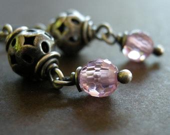 pink cubic zirconia earrings in Bali sterling silver