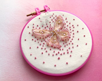Children's Stitch Art - READY TO SHIP - Pink Sparkle Butterfly Hand-Beaded Stitch Art on 5-inch Hoop - Girl's Birthday Present