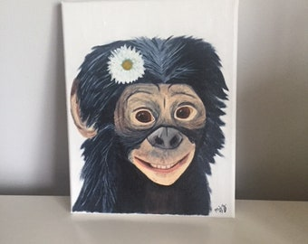 Original Chimp Painting, acrylic, 8x10 stretched canvas