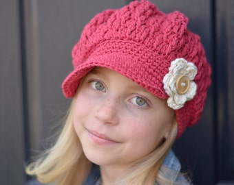 Brick Red Crochet Newsboy Hat, Hats for Kids, Crochet Newsboy Hat, Little Girl Crochet Hat, Women's Crochet Hat, Hats for Girls, Women's Hat
