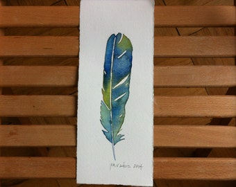Blue Green Feather Watercolor