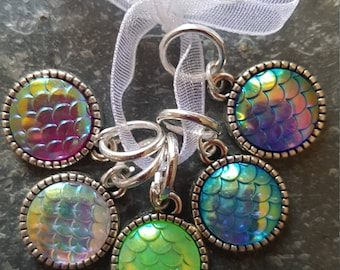 5 Knitting stitch markers. Mermaid scales