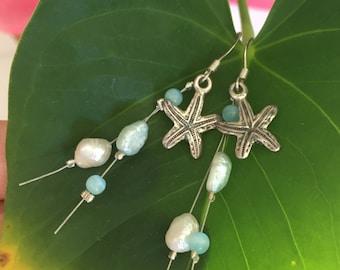Starfish Turquoise Pearl Earrings, Starfish Earrings, Beach Earrings, Ocean Theme, Sterling Silver Earrings