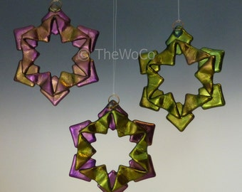 BAUBLES Warm Tones Black Iridized Snowflake, Fused Glass Ornament Suncatcher