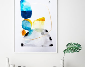 Abstract Poster,Minimalist Art Prints, abstract poster print, blue and gold, Minimalist Art, minimalist poster, Geometric wall art